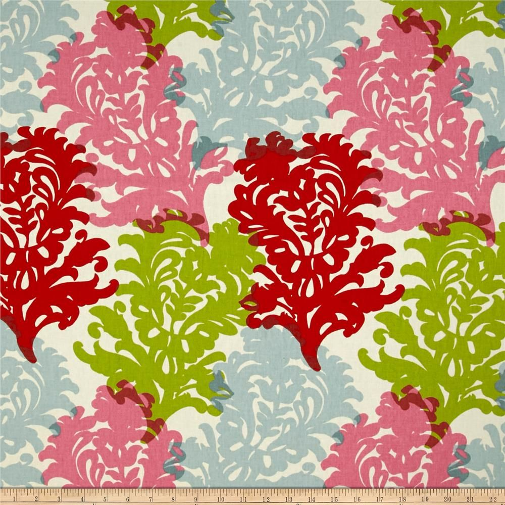 Waverly Top Form Carnival Duck from @fabricdotcom  Screen printed on cotton duck, this versatile medium weight fabric is perfect for window treatments (draperies, valances, curtains, and swags), bed skirts, duvet covers, pillow shams, accent pillows, slipcovers, and upholstery. Colors include cream, red, lime green and shades of pink and blue.