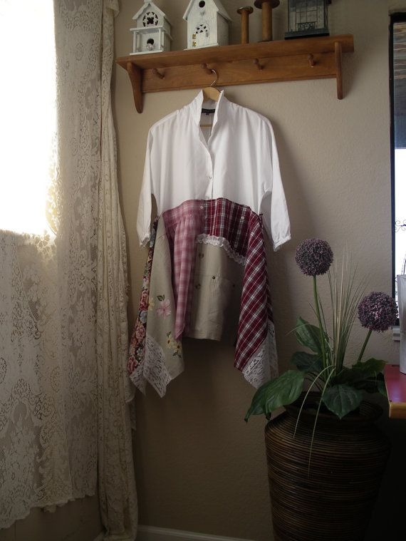 Lagenlook Tunic /Funky Patchwork Blouse by CycleOnStitches on Etsy
