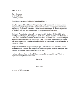 This Funny Resignation Letter Is Negative And Critical Of The