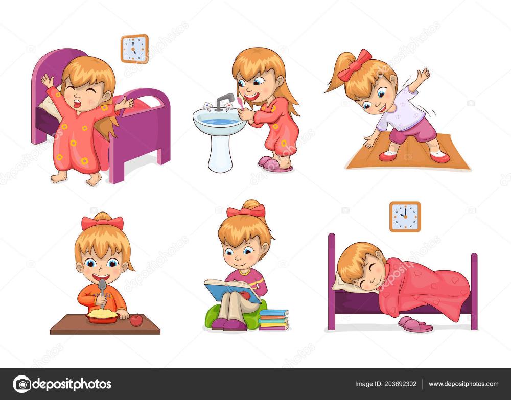 Descargar Chica Diario Rutina Coleccion Vector Ilustracion