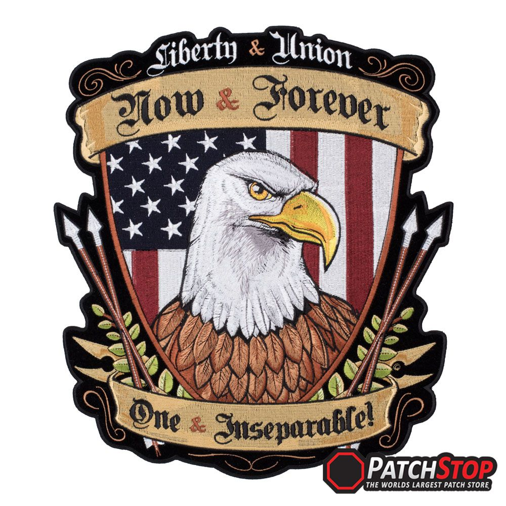 Large 12.5 Patriotic Embroidered Iron On Silver Eagle Patch