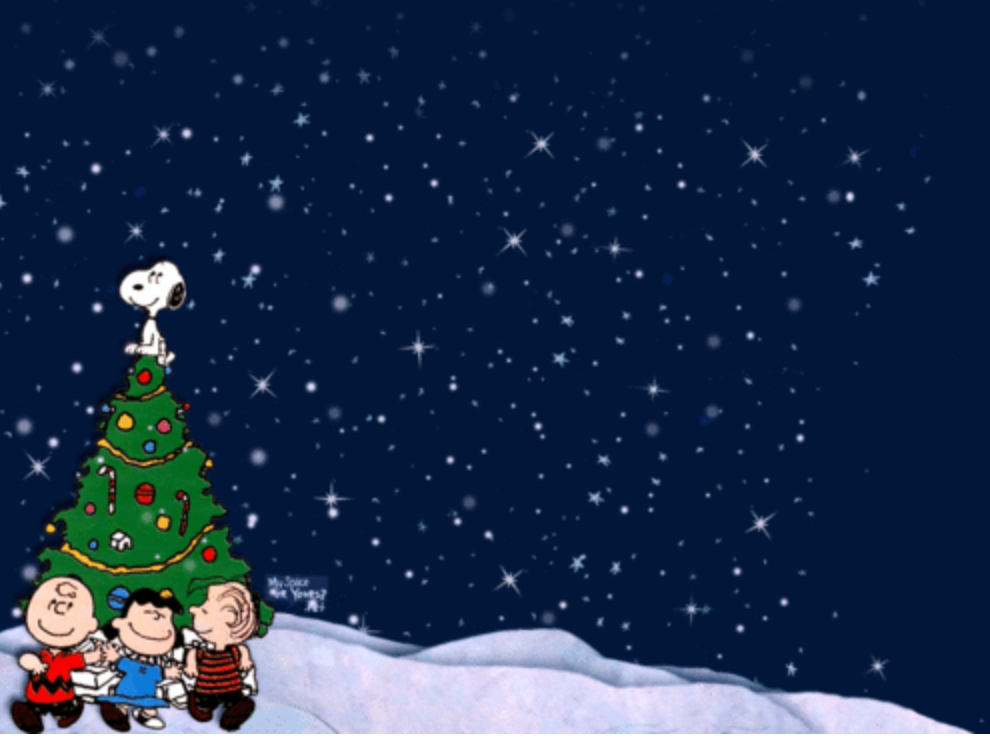 Starry Christmas Night Charlie Brown Wallpaper Charlie Brown Christmas Christmas Gif