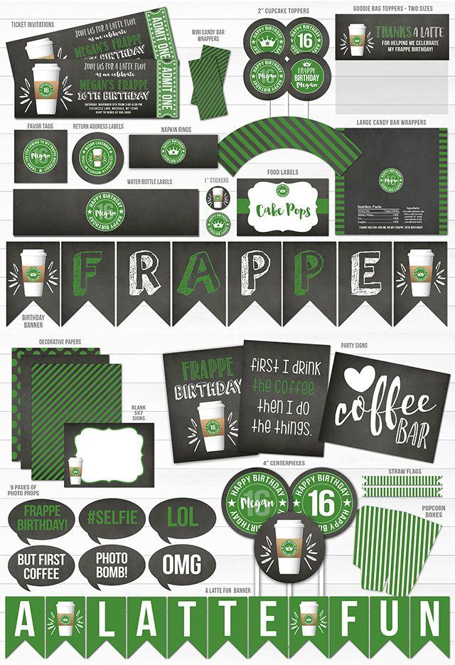 Printable Starbucks Inspired Birthday Party Package
