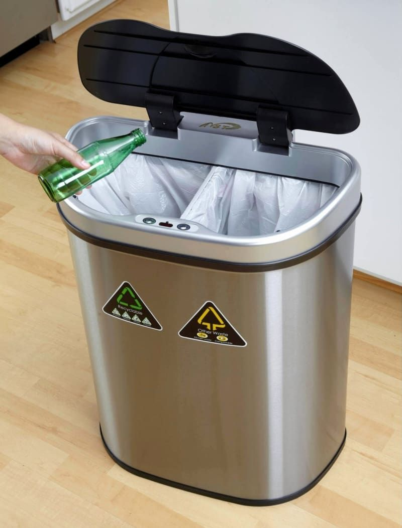 25 Splurgeworthy Products To Treat Your Kitchen To Recycle Trash Trash And Recycling Bin Trash Can