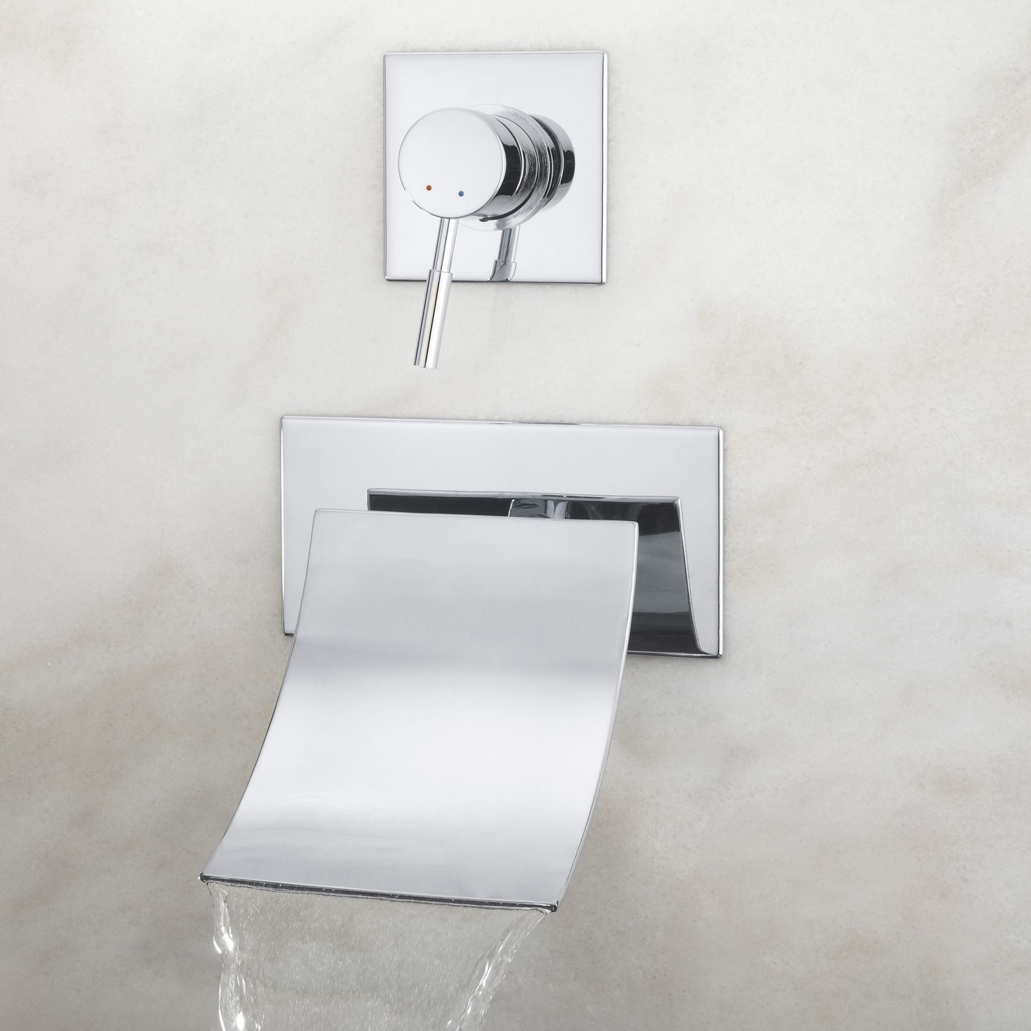 Reston Wall Mount Tub Faucet with Waterfall Spout