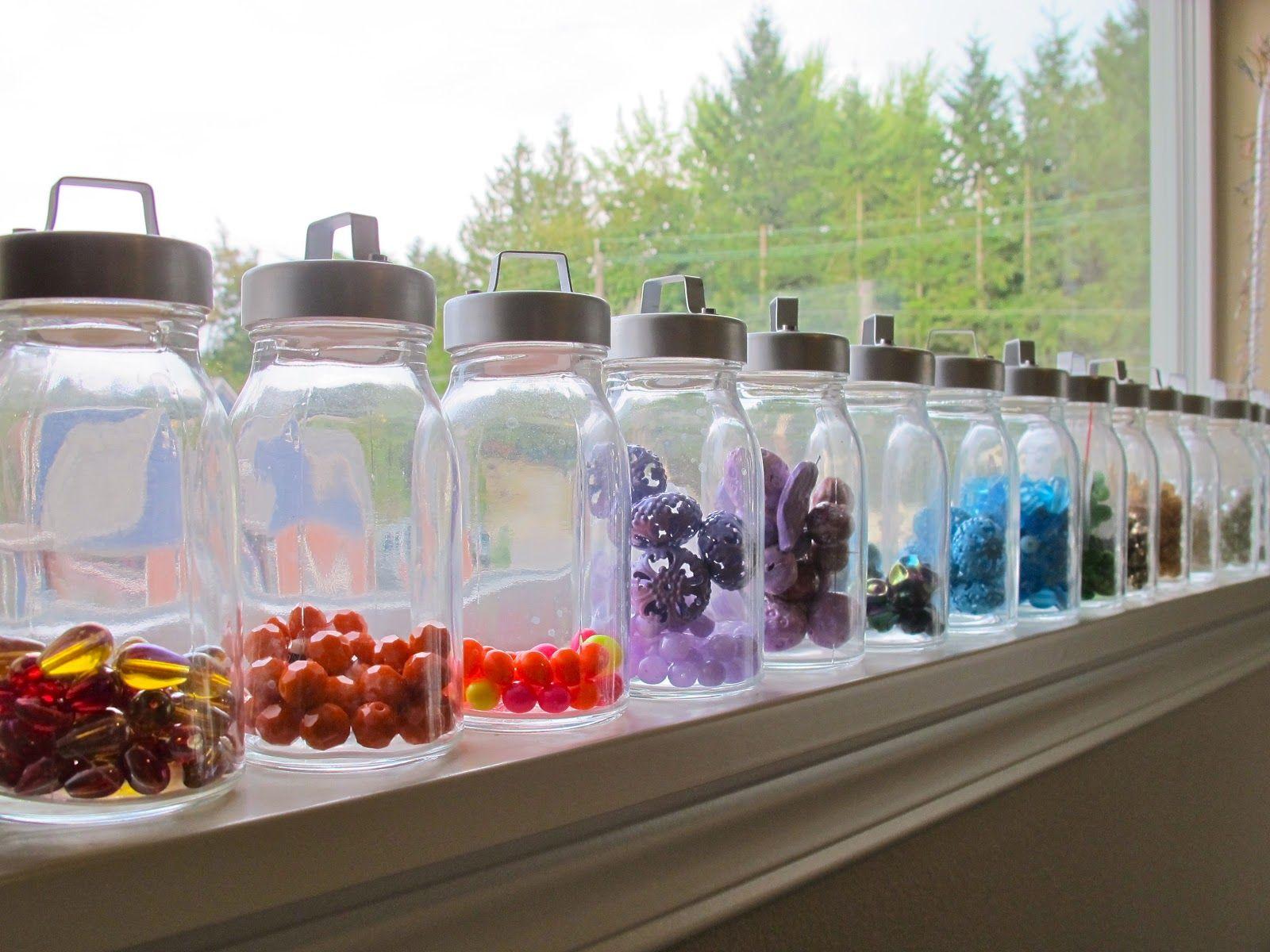 bead storage in old Ikea spice jars