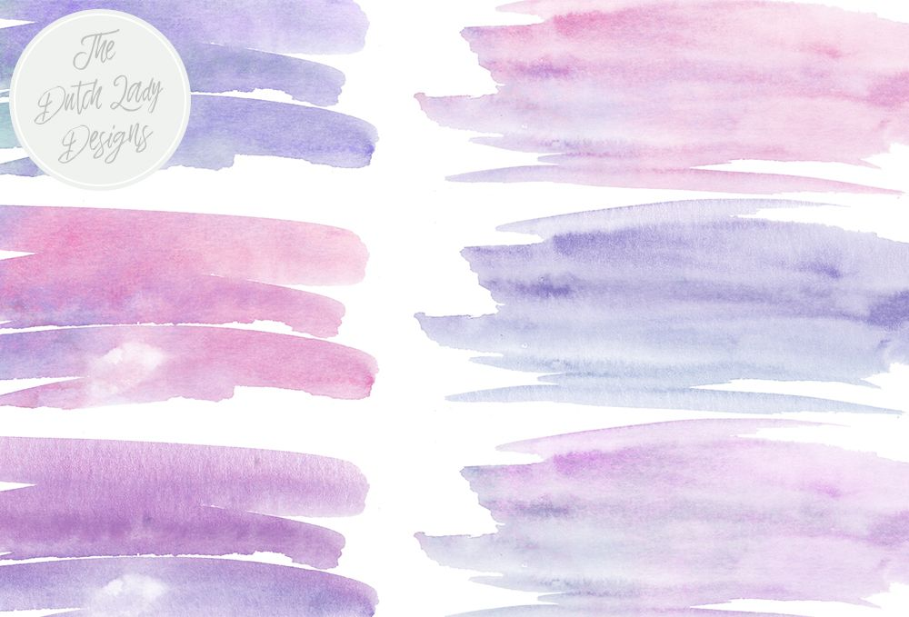 Purple Blue Watercolor Brush Stroke Clipart By The Dutch Lady