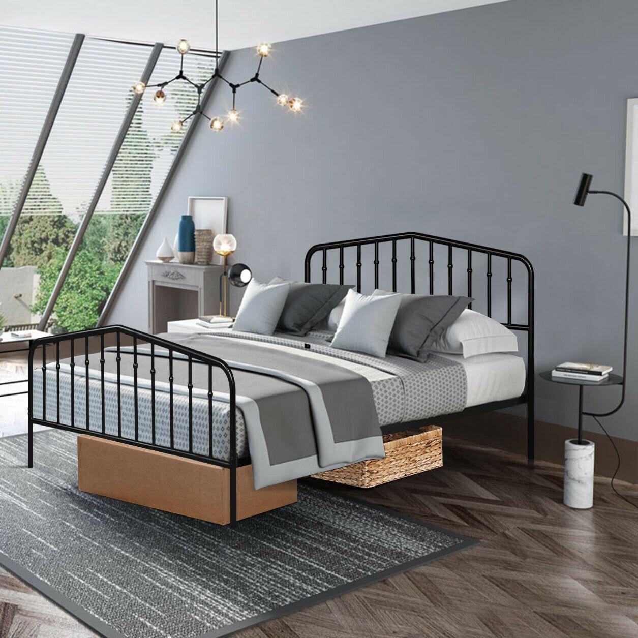 Queen Size Metal Bed Frame Steel Slat Platform in 2020