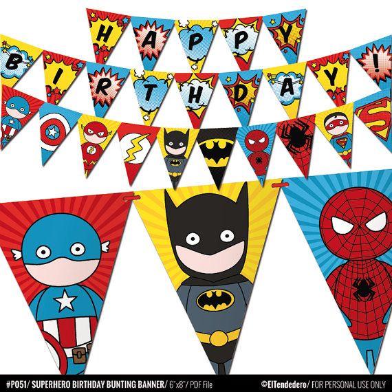 Hero Superhero Comic Children/'s Birthday Bunting Garland Party Banner