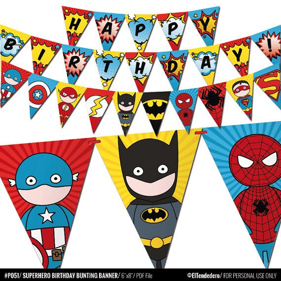 Boys Pop Art Superhero Birthday Bunting Banner Comic Party
