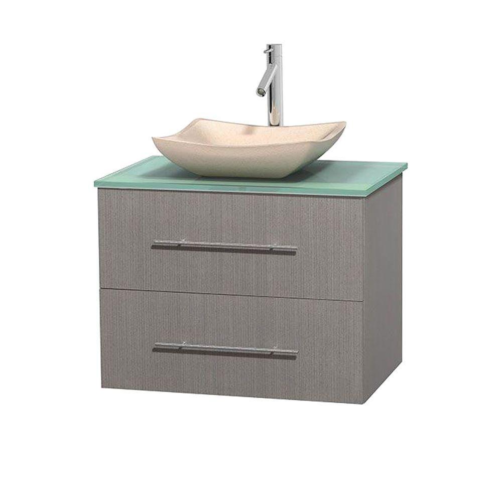 Centra 30 Inch W 1 Drawer 1 Door Wall Mounted Vanity In Grey With Top In Green Grey Oak Oak Bathroom Vanity