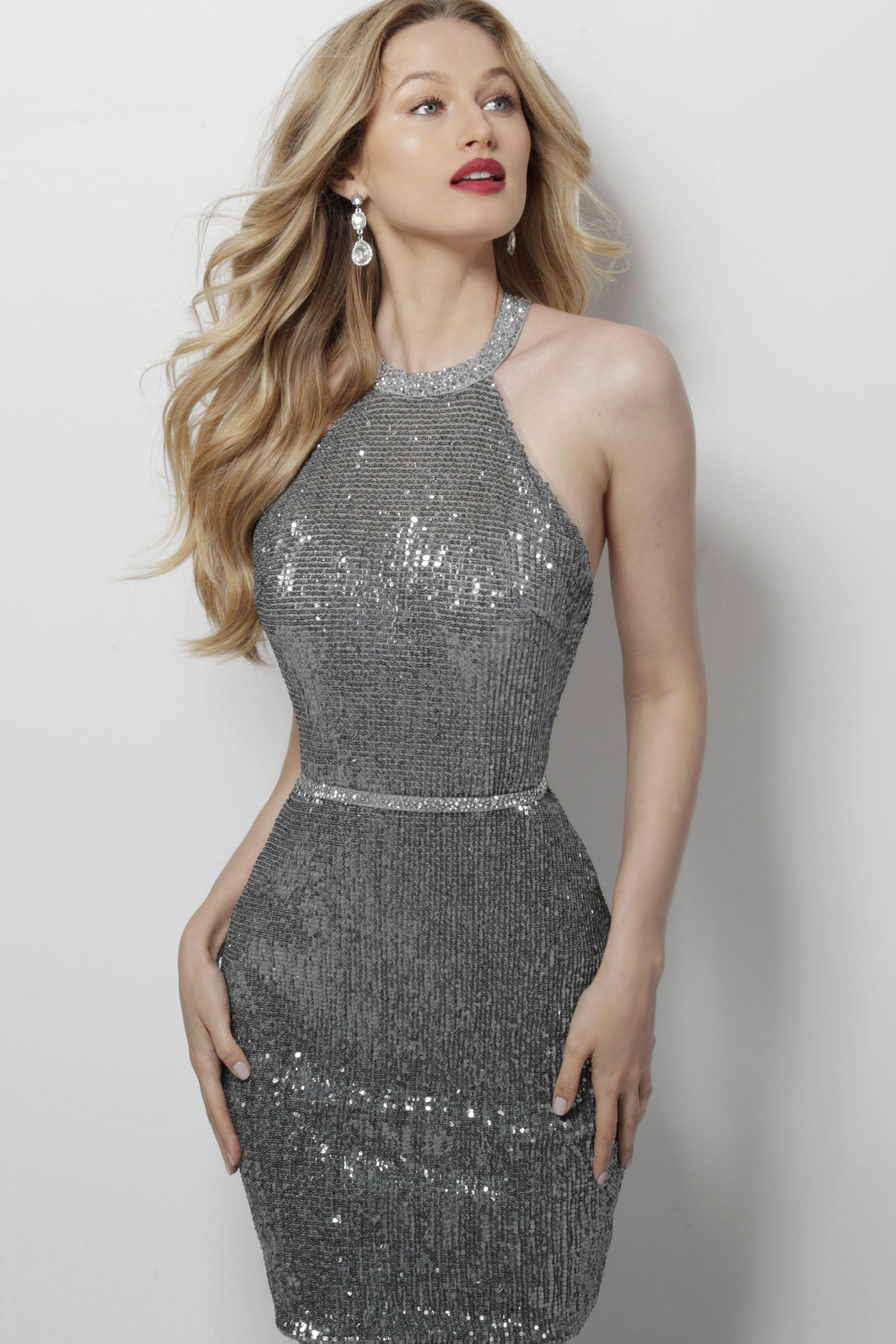 Strappy back fully sequined cocktail dress from jovani wedding