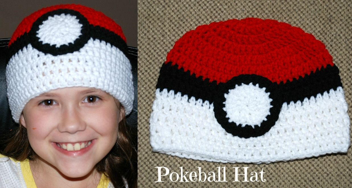 Crochet Pokeball Hat (All Sizes) http://www.amyscrochetpatterns.com ...