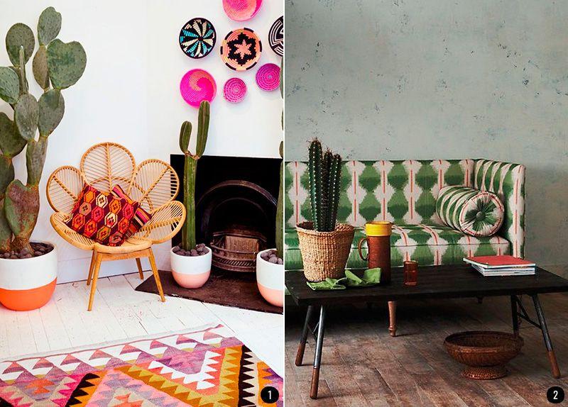 Decoraci n estilo tnico estampados cactus suculentas plantas - Estilo etnico decoracion ...