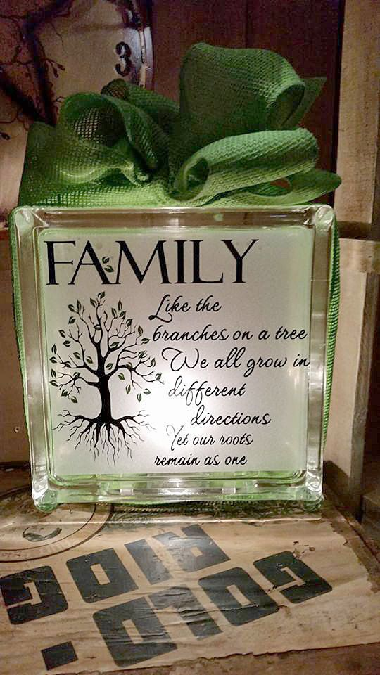 family home decor family glass block lighted by newwaysigns craft blocks with lights. Black Bedroom Furniture Sets. Home Design Ideas