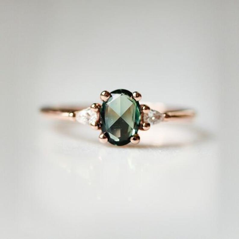 Grüne Saphir Verlobungsring Ovale Verlobungsring 3 Stein | Etsy
