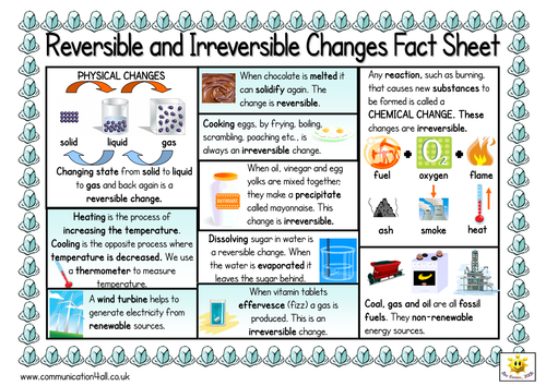 Reversible And Irreversible D Sided Fact Sheet Matter Science