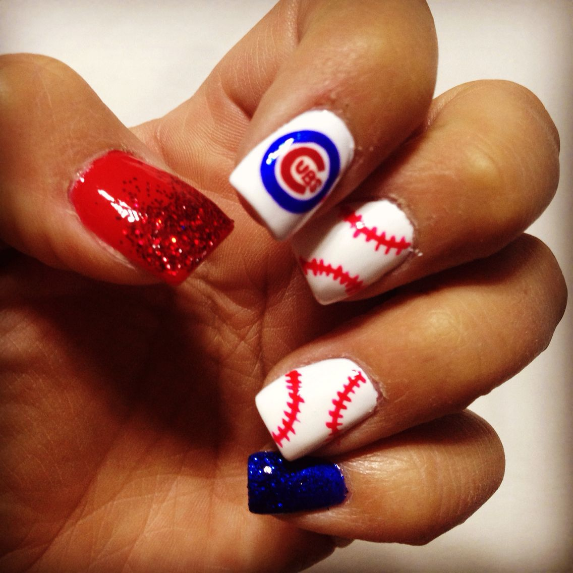 Chicago Cubs nails!!! | Fashion | Pinterest | Chicago cubs, Chicago ...
