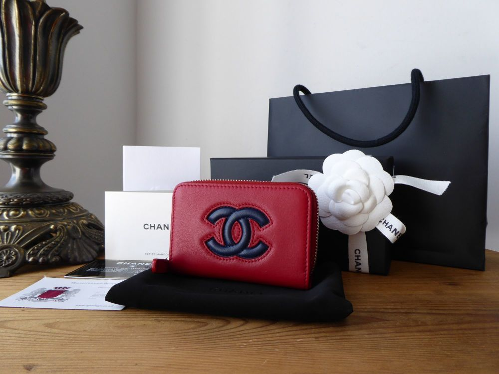 Chanel small zip around coin card case in red and blue