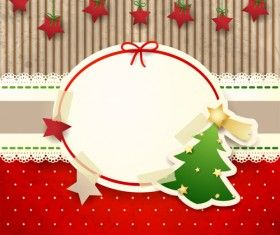 Cute Christmas cards with frame vector set 02