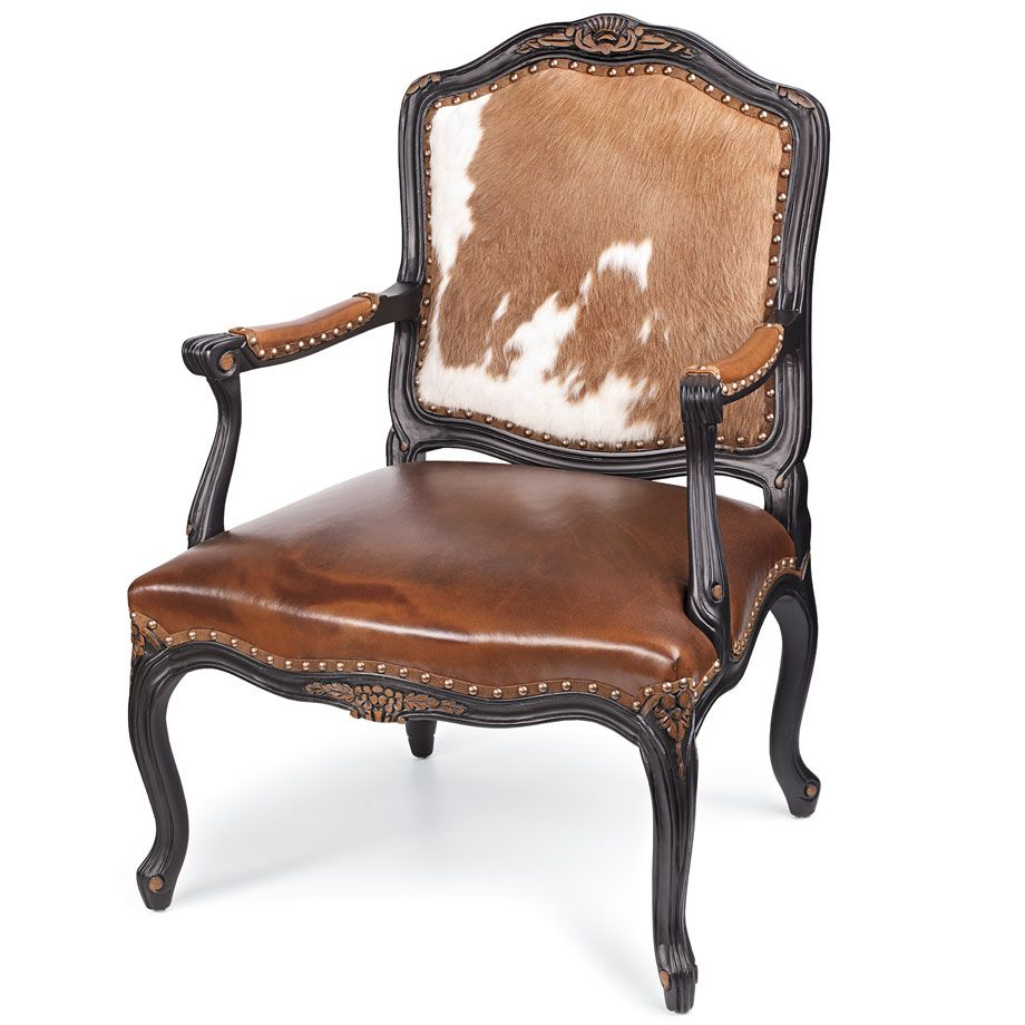 Old Hickory Tannery Carved Hair Hide And Leather Chair