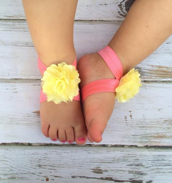 Coral and Yellow Barefoot Sandals  Newborn Baby Barefoot Sandals  Newborn Clothing   Baby Clothin is part of Etsy Clothes Photography - TheBloomingLilacBowtiqueThank you for visiting my shop and have a great day!