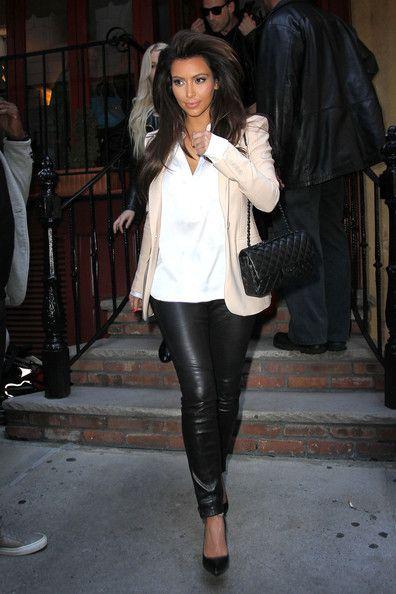 leather pants, white shirt, blazer