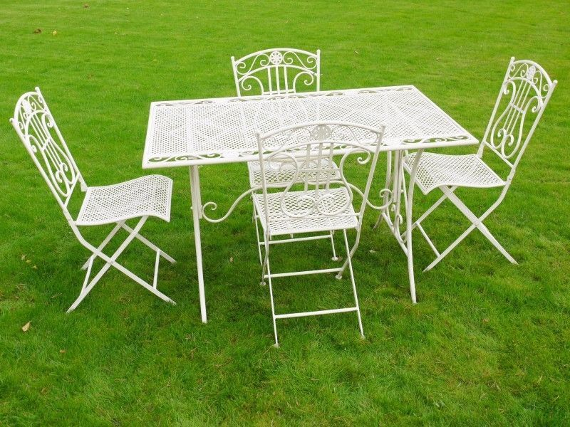 White Lattice Scroll Metal Garden Furniture Wrought Iron Patio