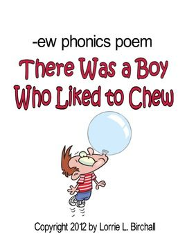 Long u: /ew/ Bubble Gum Phonics Poem | TpT FREE LESSONS