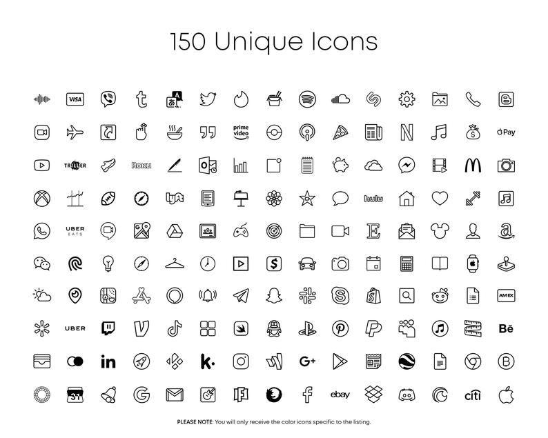 150 IOS 14 App Icons, Minimal White App Icons, IOS