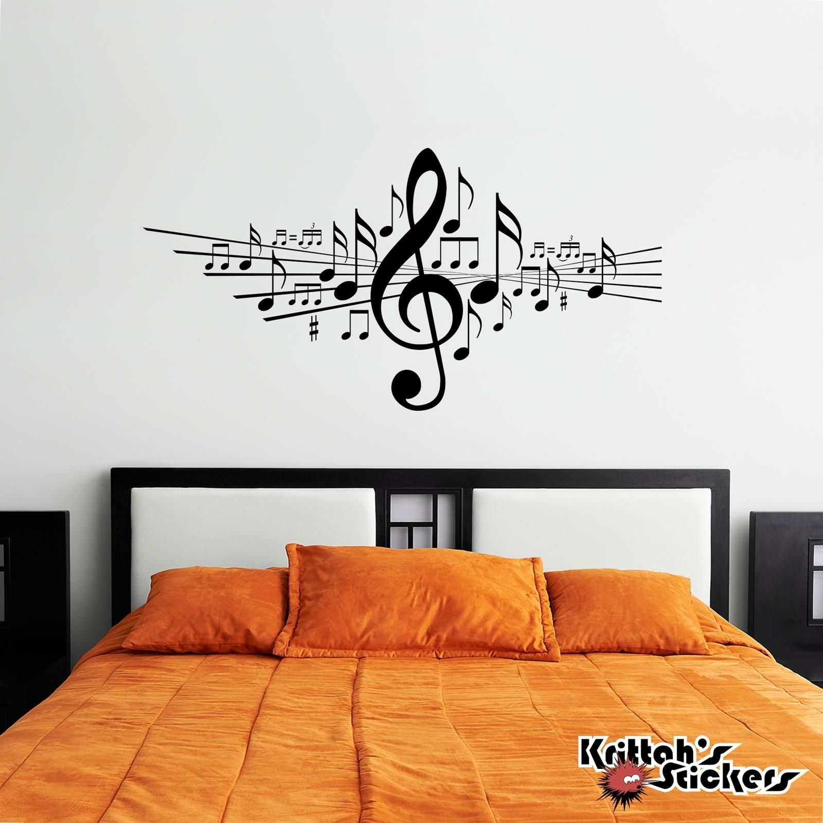 Musical Notes Vinyl Wall Decal In Music Note Wall Art In 2020