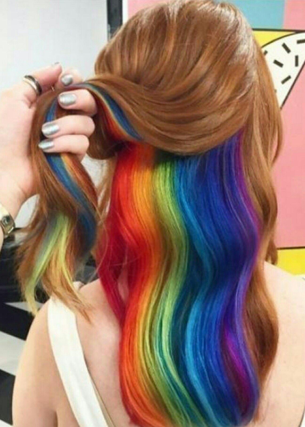 Rainbow Peekaboo Rainbow Hair Color Hair Color Underneath Hair Styles