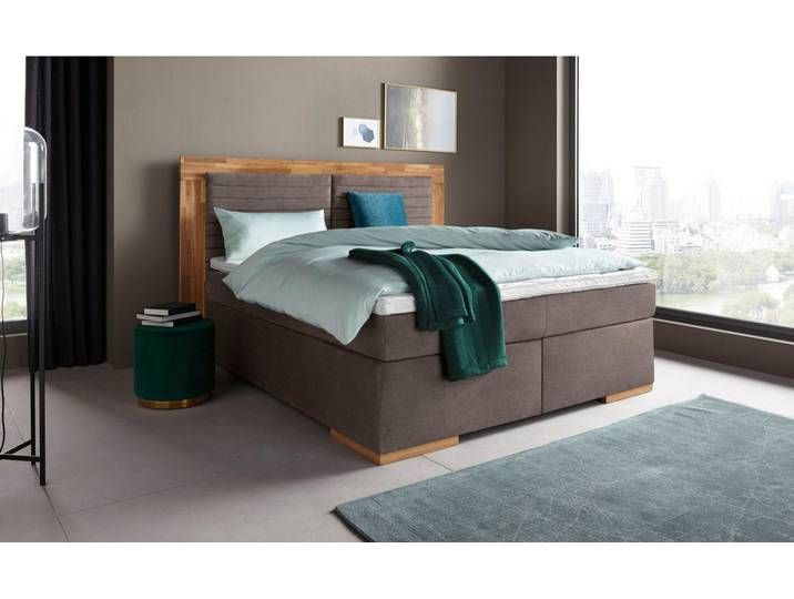 Places of Style Boxspringbett »Cup«, mit LED-Beleuchtung, Massivholzra