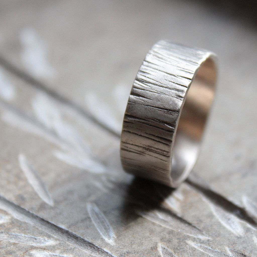 Woodland Tree Bark White Gold Wedding Band for Men or Women