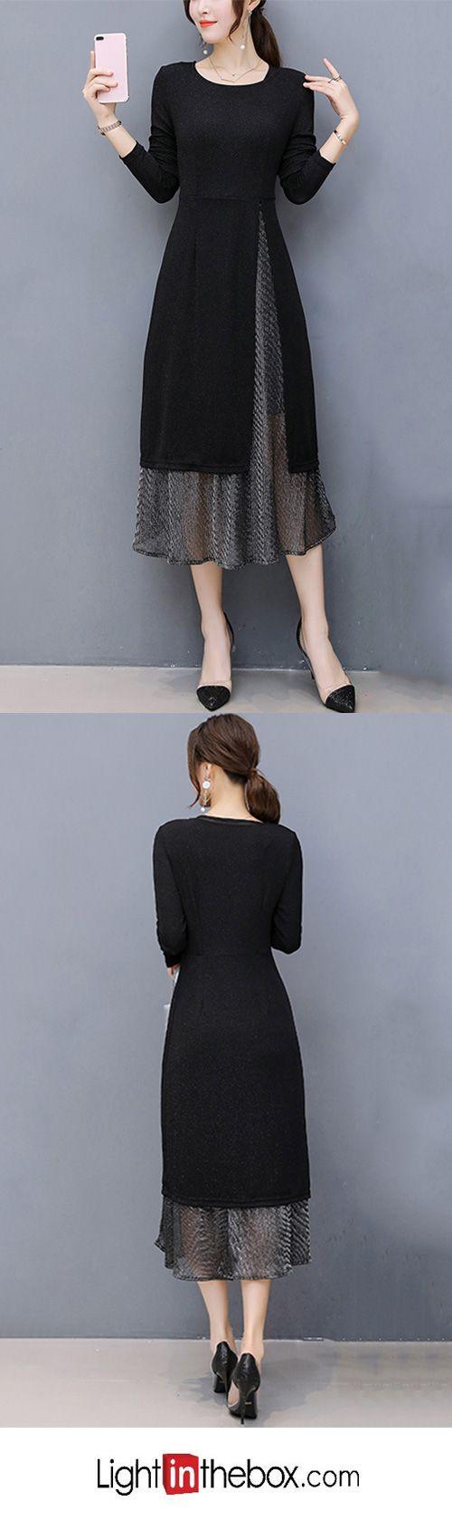 Plus Size Going Out Sheath Dress Patchwork Black Patchwork Fall Black Xl Xxl Xxxl Paltar Elbise Modelleri Buyuk Beden Kiyafetler Ve Kiyafet
