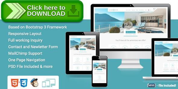 Free nulled Accommodation Landing Page download Hotel motel - free reservation forms