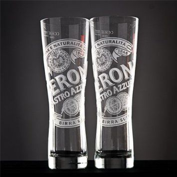 Set Of 2 Peroni Nastro Azzurro Pint /& Half Pint Glasses Brand New