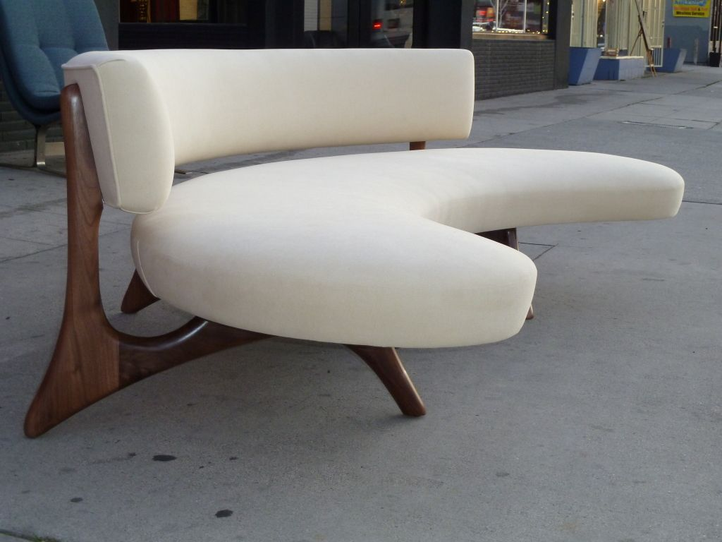 midcentury floating curved walnut sofa  mid century modern and  - midcentury floating curved walnut sofa