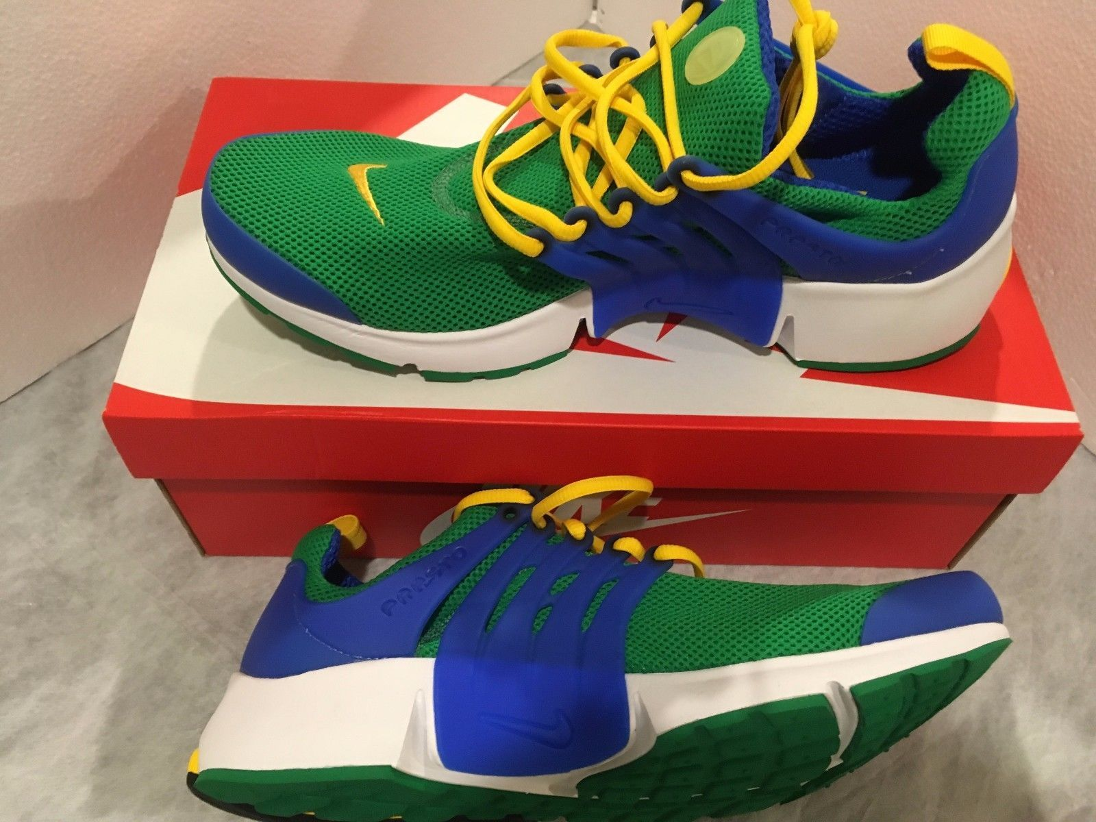 7129491bd285 NIKE AIR PRESTO ESSENTIAL GREEN BLUE YELLOW WHITE RUNNING SHOES 848187 SIZE  13
