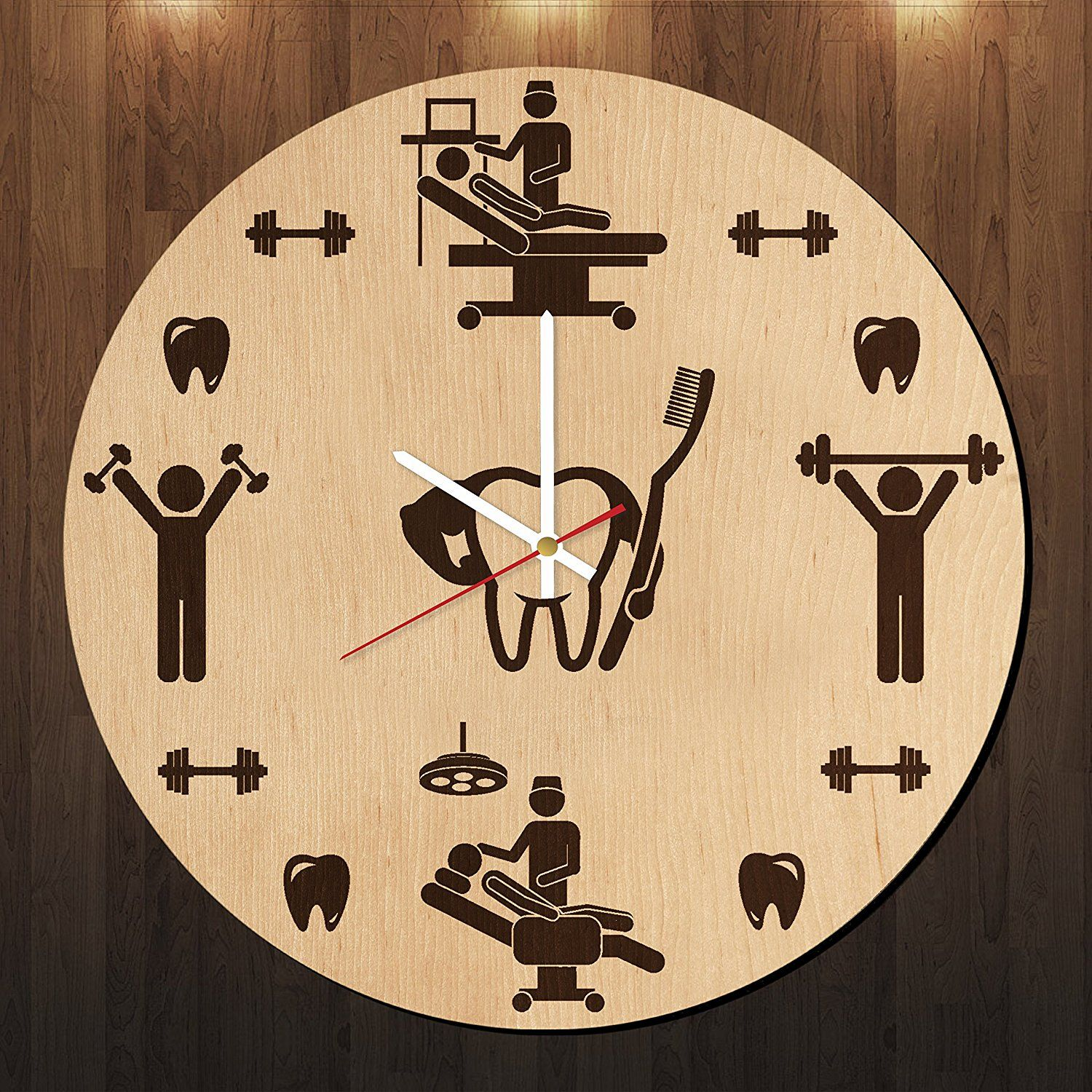 Dentist doctor figure design wood wall clock - Modern wood wall ...
