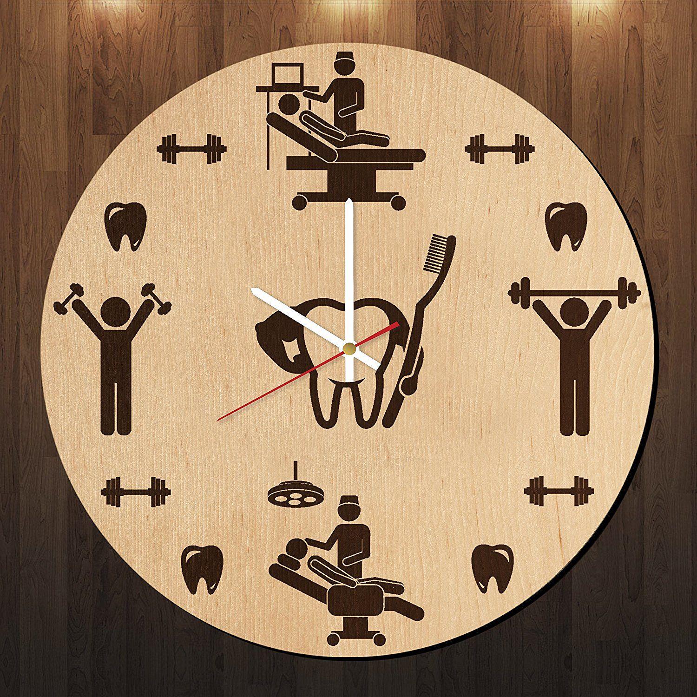 Dentist Doctor Figure Design Wood Wall Clock Modern Wood Wall