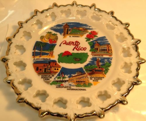 Vintage Decorative Plate PUERTO RICO Ancienne Assiette Decorative PUERTO RICO