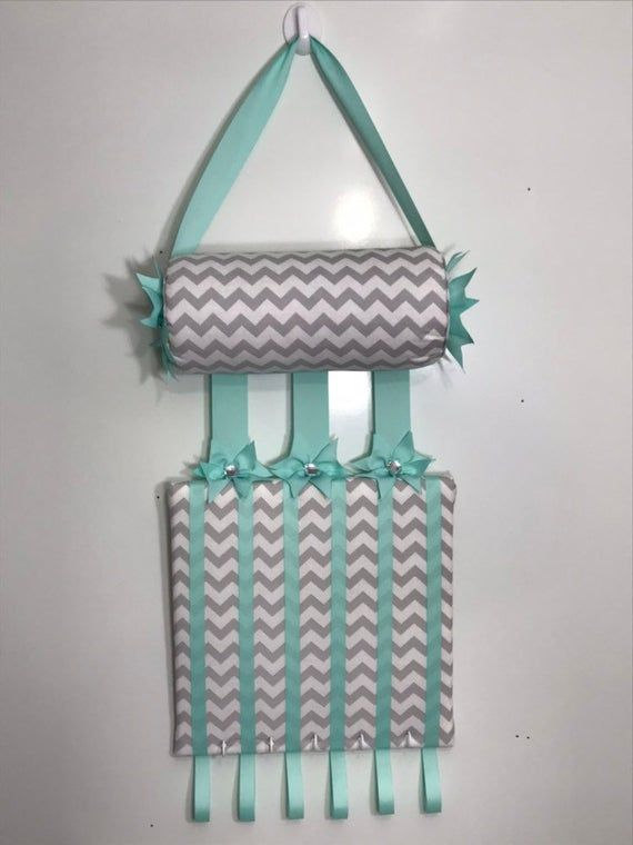 Headband Holder or head band holder hairbow organizer board Gray chevron and aqua ribbon Handmade combination holder