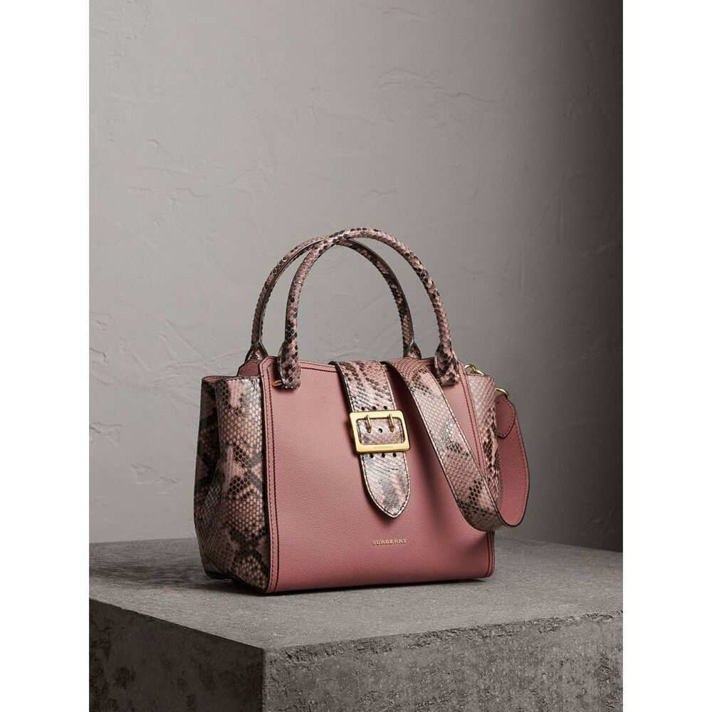 657edde70d6c Authentic New BURBERRY Women s Pink PYTHON BUCKLE Medium Leather Tote BAG   2595