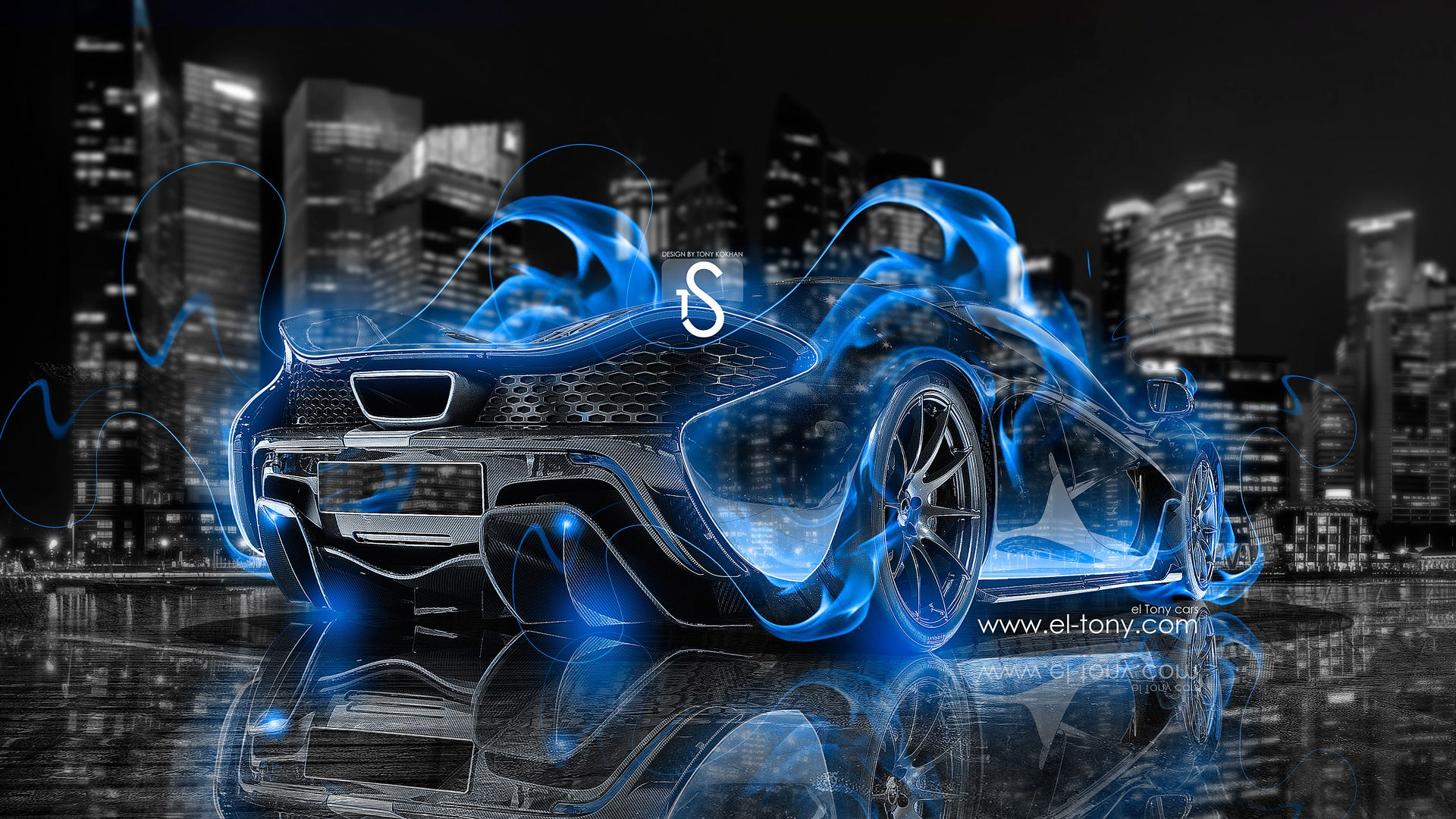 Charmant Cars   McLaren P1   McLaren P1 Blue Fire City Car