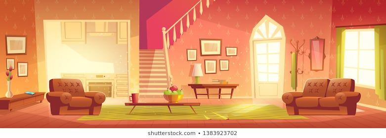 Home Interior With Hallway Entrance Stairs On Second Floor And