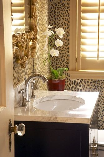 Leopard Print Wallpaper Animal Decor, Leopard Bathroom Ideas