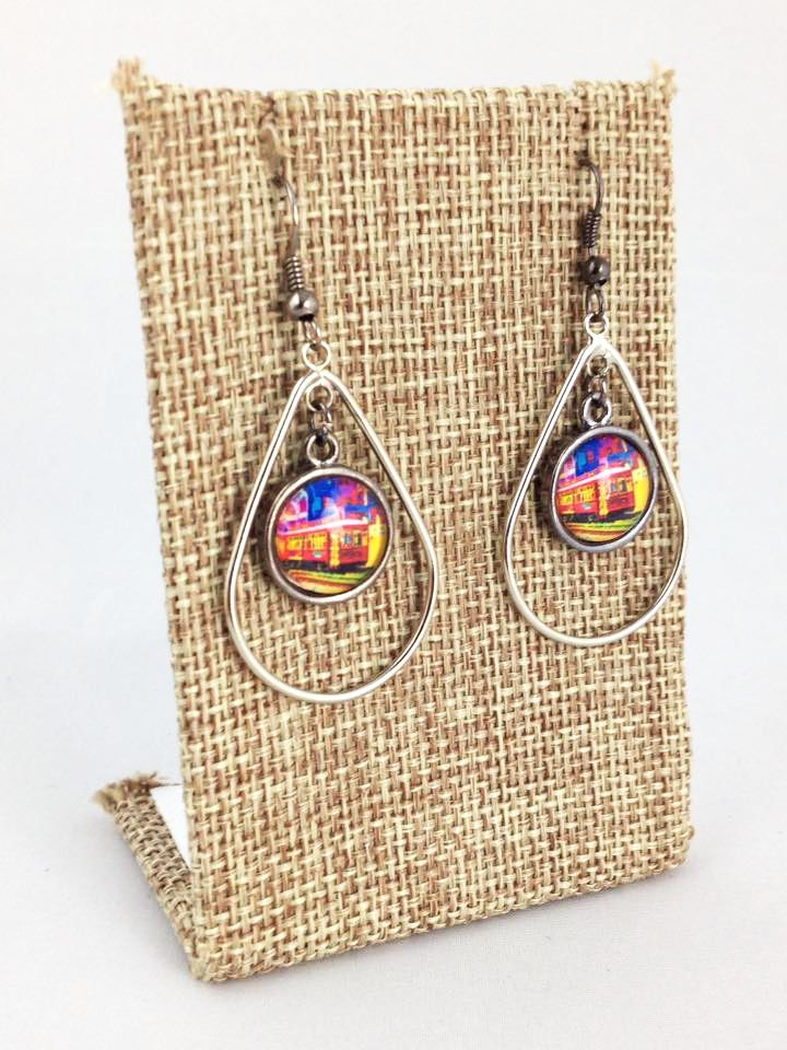 Fleurty Girl - Everything New Orleans - NOLA Colors Teardrop Earrings, Canal Streetcar, $20