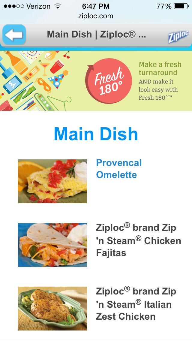Ziploc Microwave Steam Bag Recipes On Their Website
