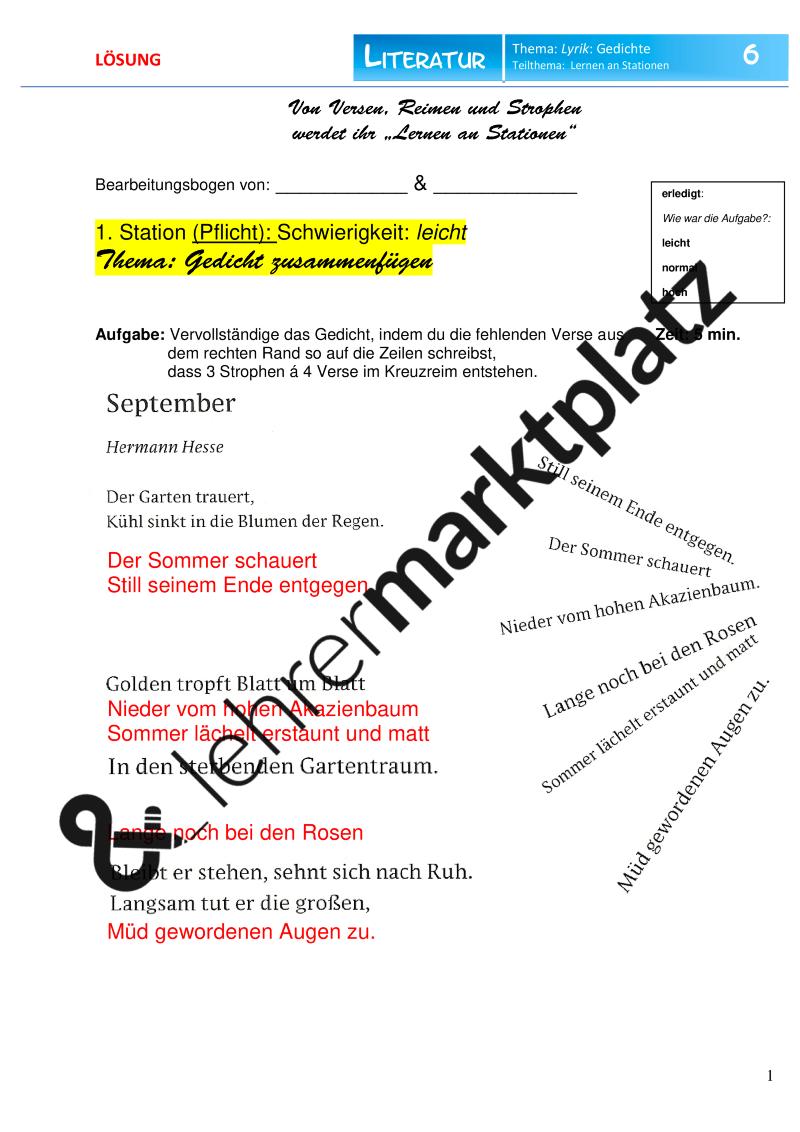 Lyrik Gedichte Analysieren Verstehen Verfassen Lernen An Stationen Unterrichtsmaterial Im Fach Deutsch Lernen Tipps Schule Lernen Lyrik